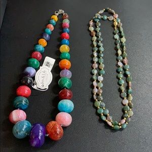 2 Like New MULTI SEMIPRECIOUS AGATE NECKLACES